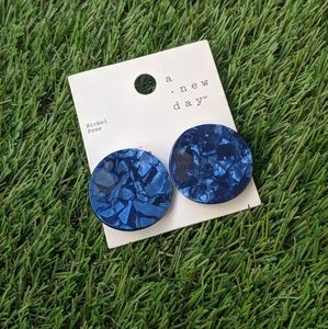 A New Day Navy Blue Disc Earrings